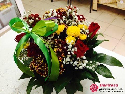 МК: Квіти канзаші у кошику /МК: Цветы канзаши в корзинке из атласных лент/DIY Kanzashi flowers
