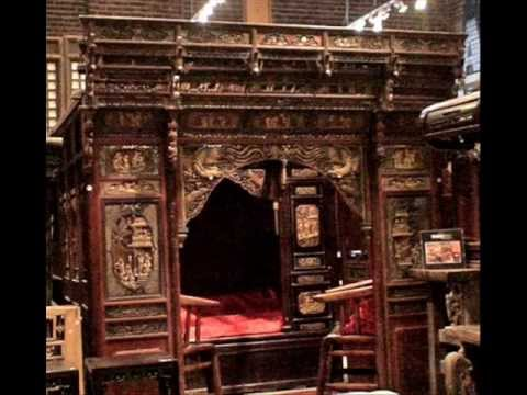 Antique Chinese Carved Canopy Bed With Alcove Wmv Youtube