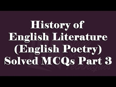 History of English Literature (Poetry) Solved MCQs Part 3