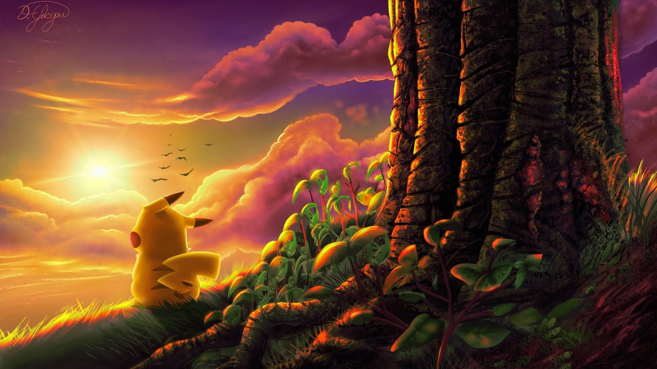 4k Fall Painting Wallpapers Pikachu Enjoying The Sunset Speed Painting Using