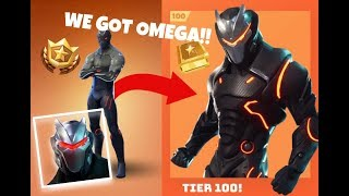 GETTING *OMEGA* AND UNLOCKING STAGE 4 + ONSLAUGHT PICKAXE IN FORTNITE BATTLE ROYALE!!! (TIER 100)