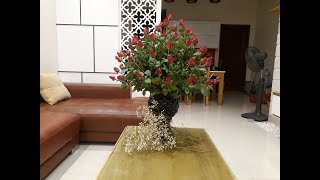 cắm hoa- flower arrangement-huong dan cam lo hoa hong de ban phong khach