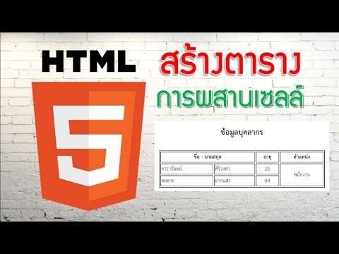 HTML EP.2.1 การผสานเซลล์ ตาราง