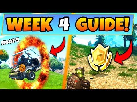 Fortnite WEEK 4 CHALLENGES GUIDE! – FLAMING HOOP Locations, Treasure MAP (Battle Royale Season 5)