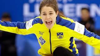 Anna  Hasselborg, the beautiful skip of the Swedish Curling team at the winter olympics wins medal