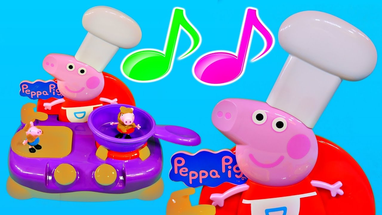 Cooking toys Peppa Pig breakfast play doh vs burger toy kitchen play ...