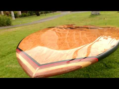 "9'6""x 24.5"" 4 ""  Raised Deck Longboard Epoxy Wood ( Brown Cateye )"