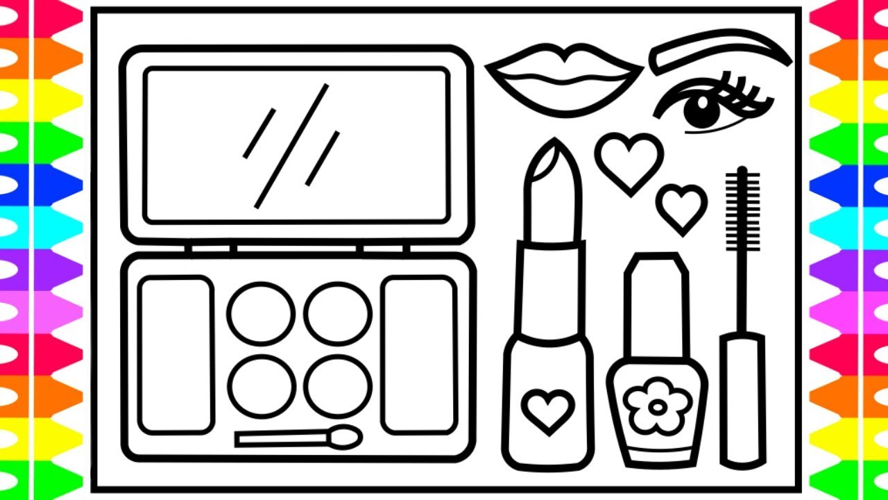 How To Draw A MAKEUP SET 💋💅💄Step By Step For Kids
