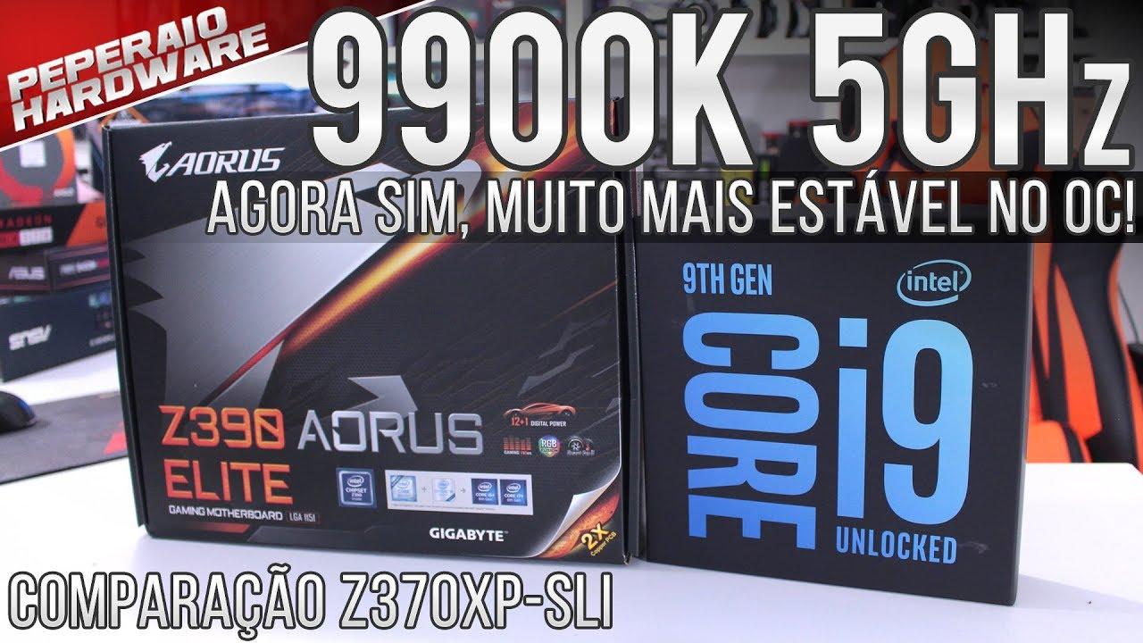 Agora sim! I9 9900K + Aorus Z390 Elite / Overclock 5Ghz / VRM super frio /  Comparação Z370XP-SLI