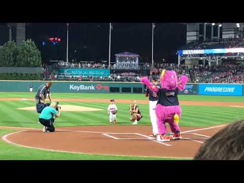 Three-year old cancer survivor fulfills his wish with first pitch at Cleveland Indians game