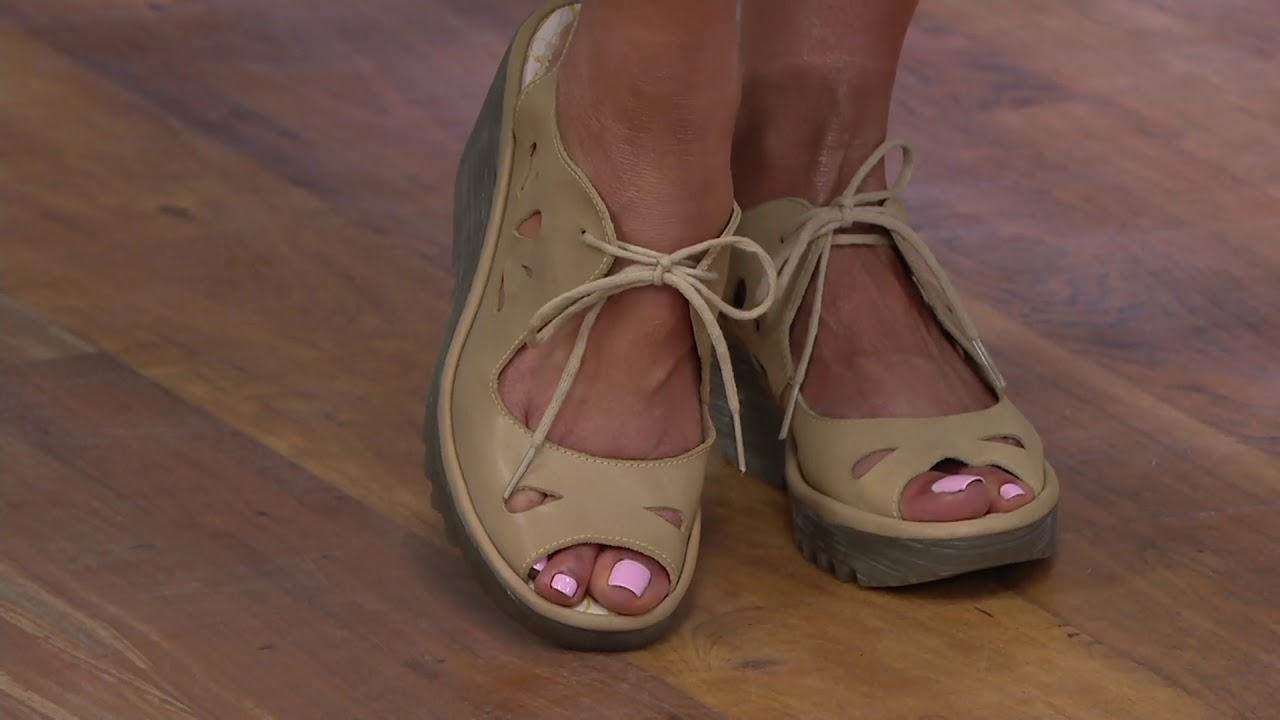 a43c8c38686e FLY London Leather Lace Up Wedges - Yend on QVC - YouTube