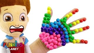 LEARN COLORS for Children: Paw Patrol Skye & Chase Finger Family Nursery Rhymes Body Paint Gumball