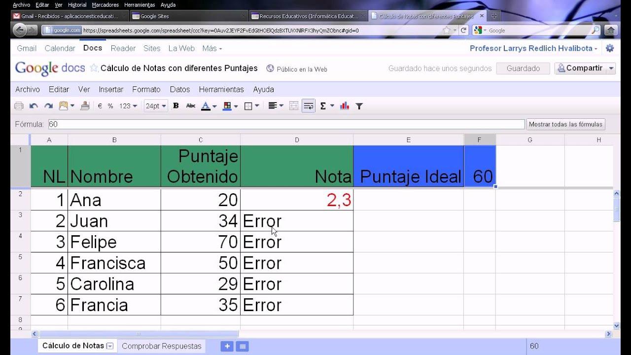 Fórmula para Calcular Nota y Validar Resultado - YouTube