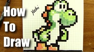 How To Draw Pixel Art Yoshi From Mario! - Step By Step - 16 Bit not 8-bit