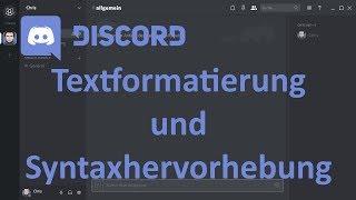Discord: Textformatierung und Syntax-Highlighting (german/deutsch)