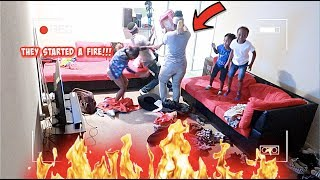 HIDDEN CAMERA ON KID'S HOME ALONE !!! (THEY STARTED A FIRE)