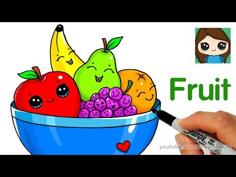 How To Draw A Bowl Of Fruit Easy