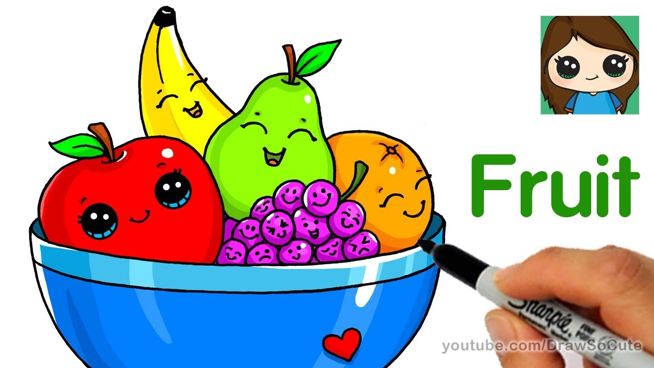 How to Draw a Bowl of Fruit Easy - YouTube
