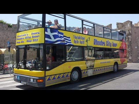 Hop On Hop Off Yellow Bus Rhodes