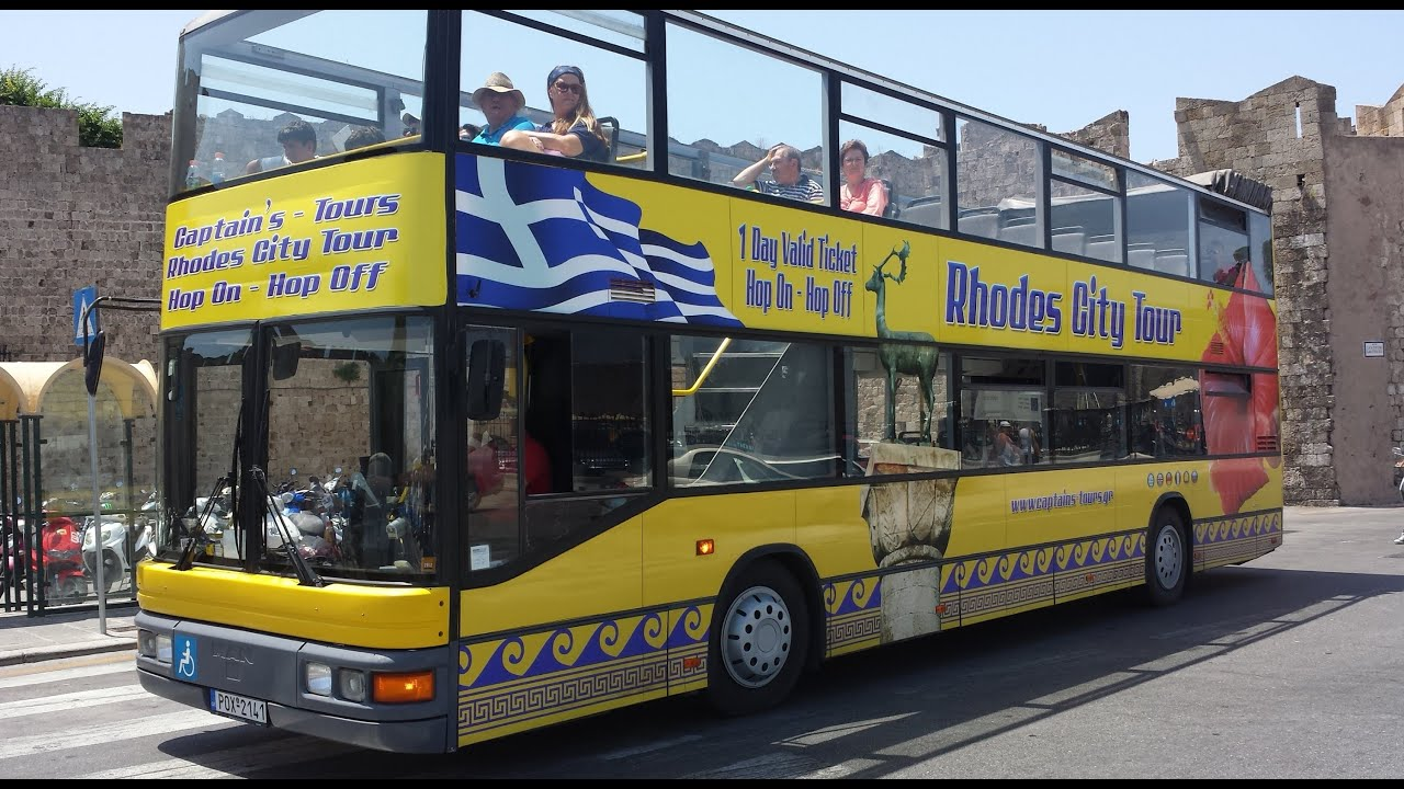 Hop On Hop Off Yellow Bus Rhodes YouTube