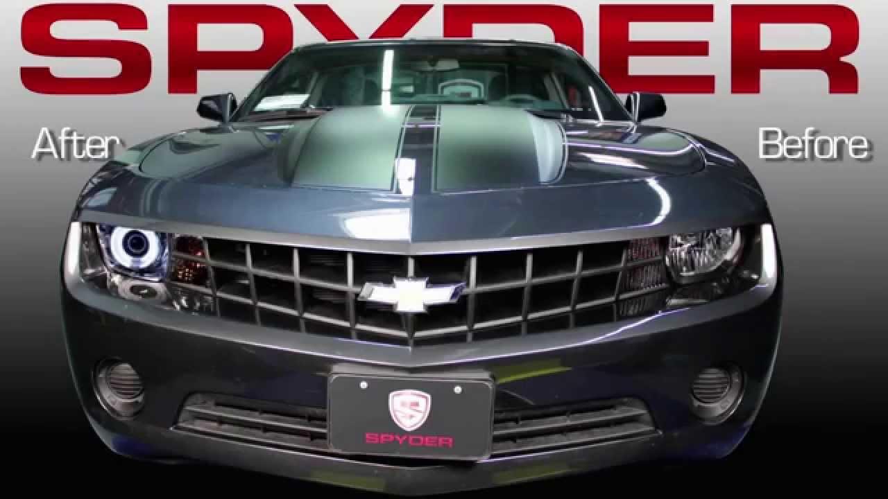 Led Headlight Bulb >> 2010-2013 Chevrolet Camaro Dual LED Halo Projector Headlight Spyder Performance Lighting - YouTube