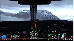 Cockpit view of landing at Ísafjörður Airport in Iceland (Isafjordur / Isafjördur)