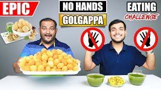 EPIC NO HANDS GOLGAPPA / PANI PURI EATING CHALLENGE   Golgappa Eating Competition   Food Challenge