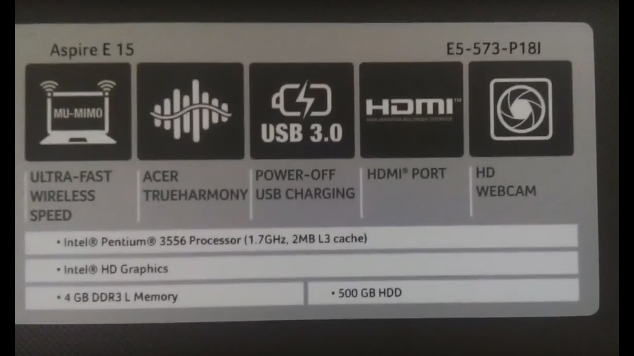 Acer Aspire E 15 E5-573-P18j Windows 10 Installation - YouTube