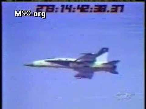 F-18 Hornet drops bomb, striking another plane