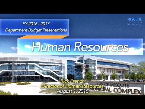 Human Resources Department Presentation 8/1/16