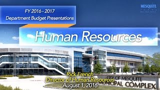 Human Resources Department Presentation 8/1/16