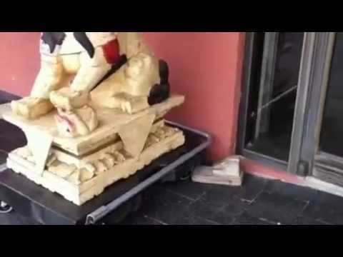 Chinese Asian Foo Dog Statues, Carved Bone, Huge!