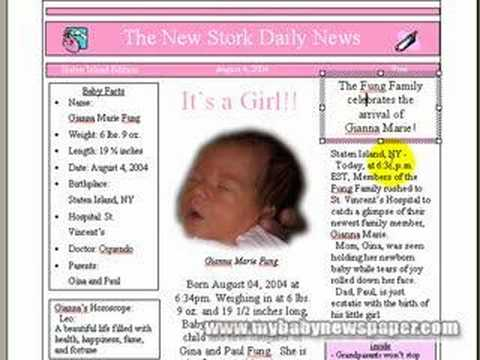 How To Make Personalized Baby Newspaper Birth Announcements YouTube – Birth Announcement Examples