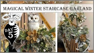 Winter Staircase Garland | 5th Day of Vintage Christmas 2019