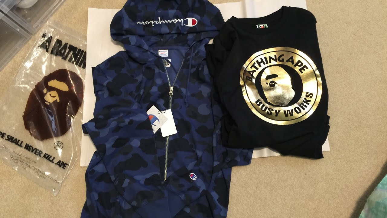 771a7ce55 Bape Pickup/Unboxing Bape x Champion Color Camo Blue Zip Hoodie + Busy Works  Ape Tee