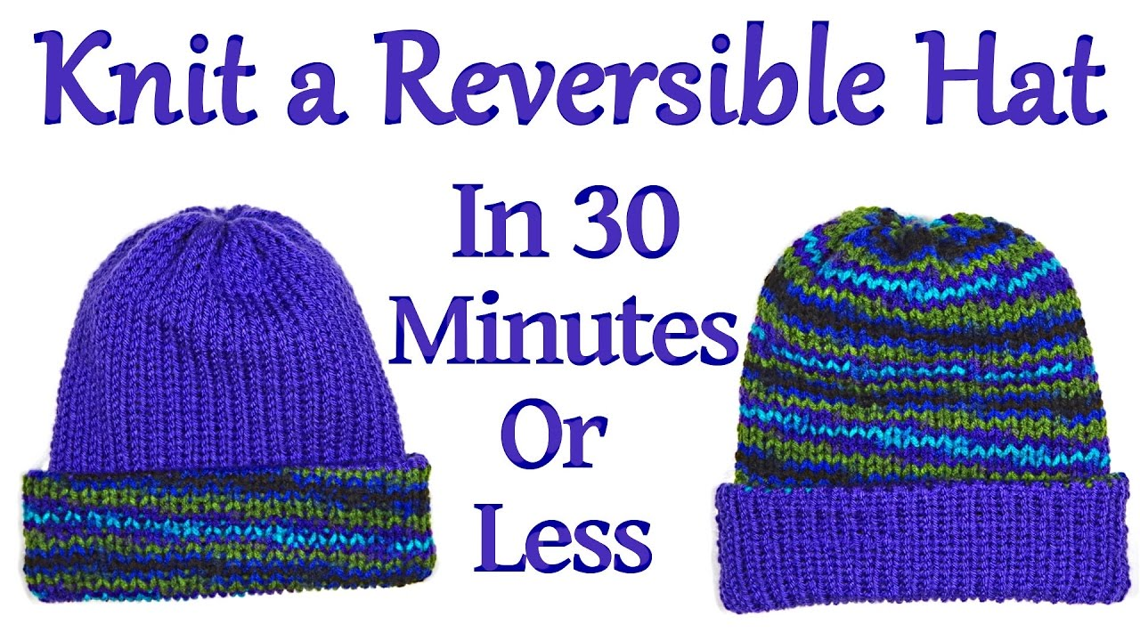 Knitting Pattern Reversible Hat : Knit a Reversible Hat on your Addi King Knitting Machine in 30 Minutes or Les...