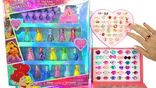 Disney Princess Nail Polish Manicure Gift set, Princess Gem Rings Cincin Putri Anéis de Princesa