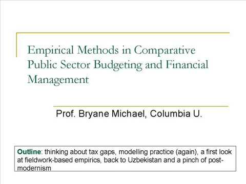 Empirical Methods in Comparative Public Sector Budgeting and Financial Management