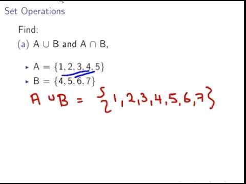 Set Operations  Union and Intersection (Discrete Mathematics)