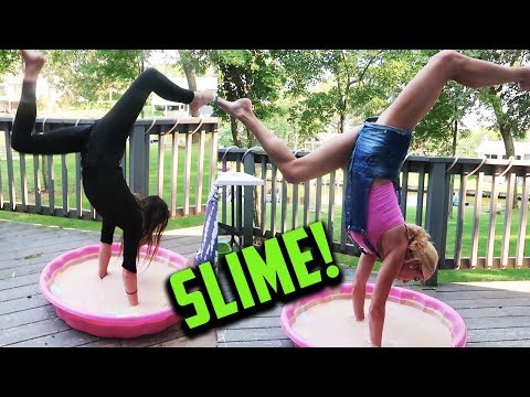 Thumbnail: REBECCA AND ANNIE DO HANDSTANDS IN GIANT SLIME! (DAY 248) GYMNASTICS CHALLENGE IRL