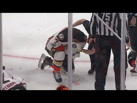 Cogliano heads for repairs after taking an elbow from Gryba