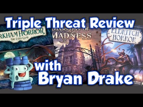 Triple Threat Review Arkham Horror TCG Mansions of Madness and Eldritch Horror with Bryan Drake