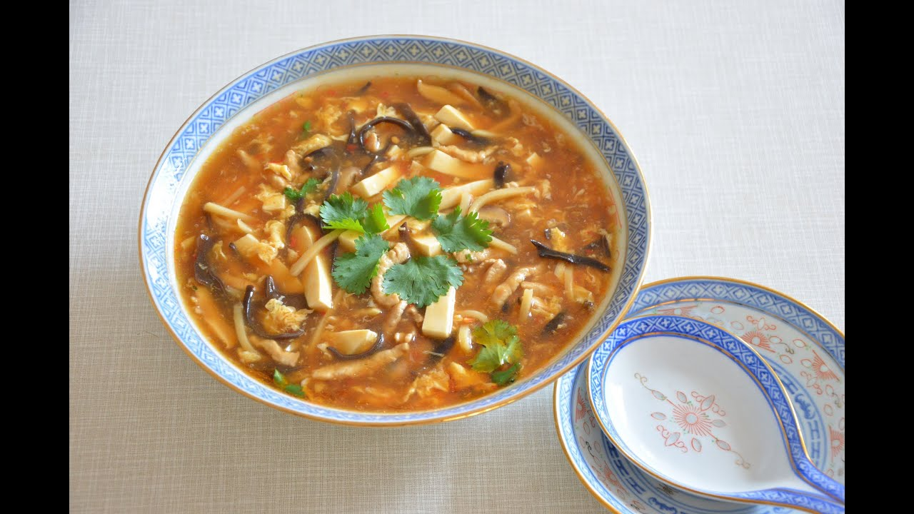 Chinese hot and sour soup, 酸辣湯 - YouTube