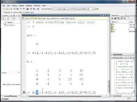 Gaussian Elimination In Matlab