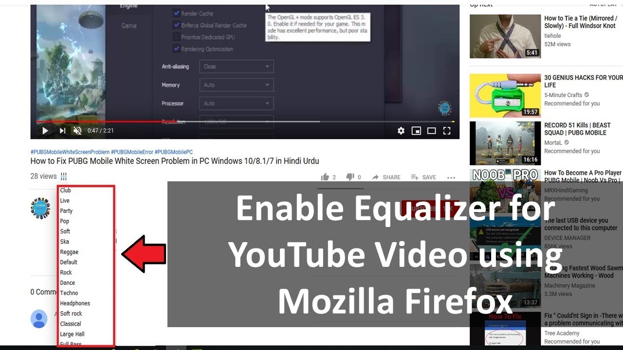How to Enable Equalizer for Youtube Video in Mozilla Firefox on Windows  10/8 1/7