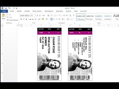 How to easily make custom Concert Tickets or Concert Ticket Invitations with MS Word