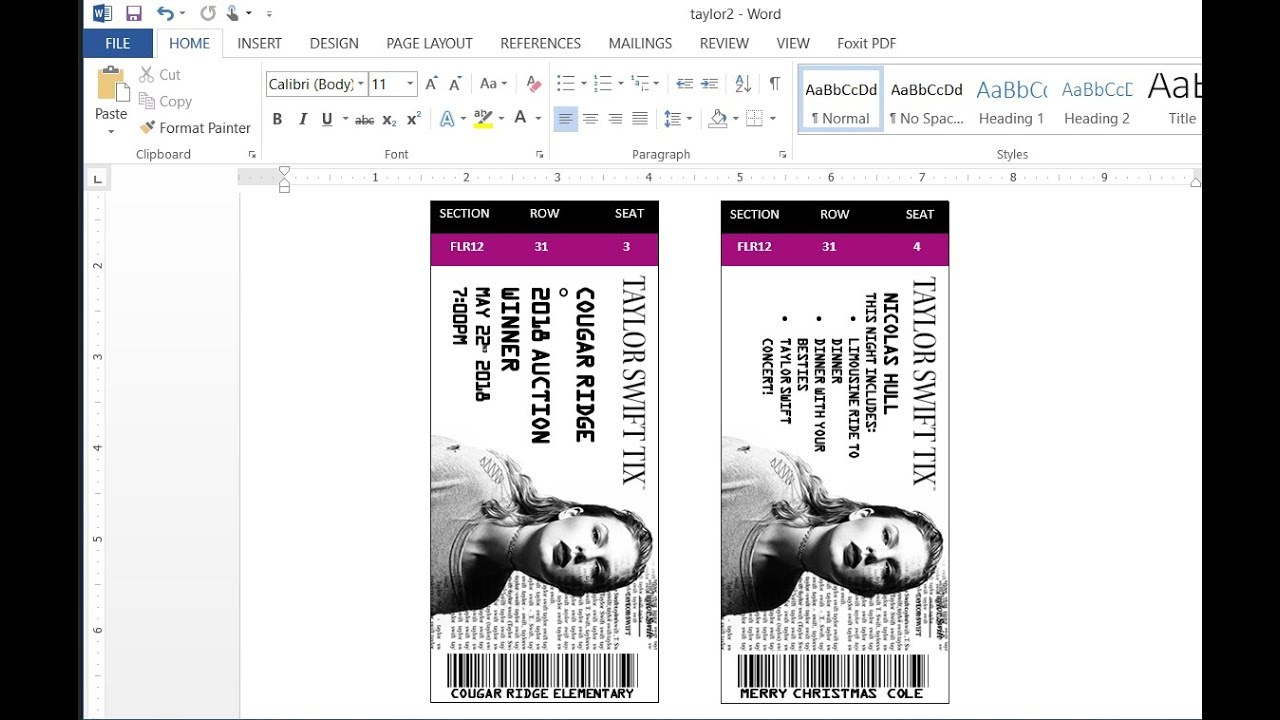 How To Easily Make Custom Concert Tickets Or Concert Ticket Invitations  With MS Word  Make Concert Tickets