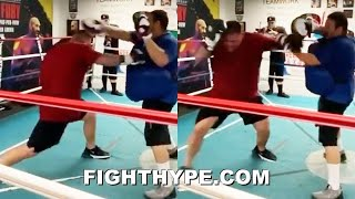 ANDY RUIZ WHIPPING DEADLY LEFT HOOKS WITH BLAZING SPEED; CRACKING POWER ON MITTS & GETTING FIT