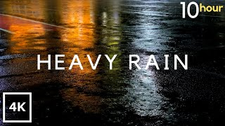 HEAVY RAIN at Night 10 Hours. Heavy Rain sounds for Relaxing, Sleep, Study, insomnia, reduce Stress