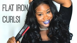 "♡ Flat Iron Curls + Kamari Hair Review ""Red by Kiss Ceramic Styler"""
